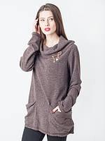 Женская кофта с карманами и воротником-хомутом