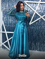 Женское платье в пол атласное с кружевом