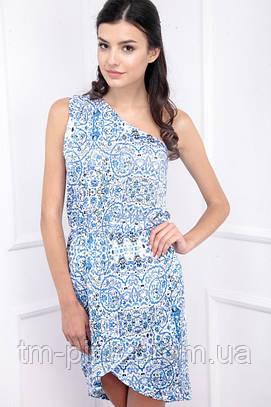 Сукня на одне плече блакитна принт запах