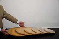 Доска круглая, деревянная, с канавкой для подачи мяса, овощей