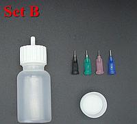 Бутылочка для рисования и 4 апликатора  с металическими кончиками   (сет Б)
