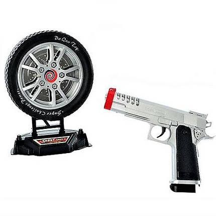 Пистолет 2148, набор с мишенью в виде колеса, пистолет 20 см, мишень 16 см, свет, музыка, стреляет лучем, фото 2