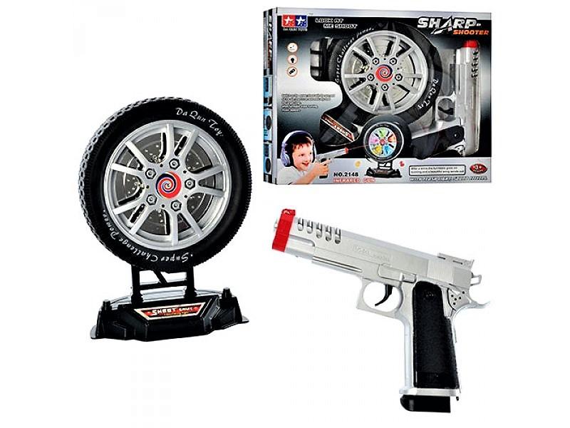 Пистолет 2148, набор с мишенью в виде колеса, пистолет 20 см, мишень 16 см, свет, музыка, стреляет лучем