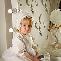Детская шапочка Изабелла от Miminobaby кремовая
