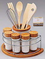 Подставка для кухонных принадлежностей и 5 баночек для специй и приправ