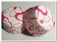 Сердечки №6 - Тарталетки бумажные для кексов, 50шт