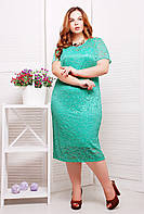Платье из гипюра с подкладкой ЛЮЧИЯ бирюзовое