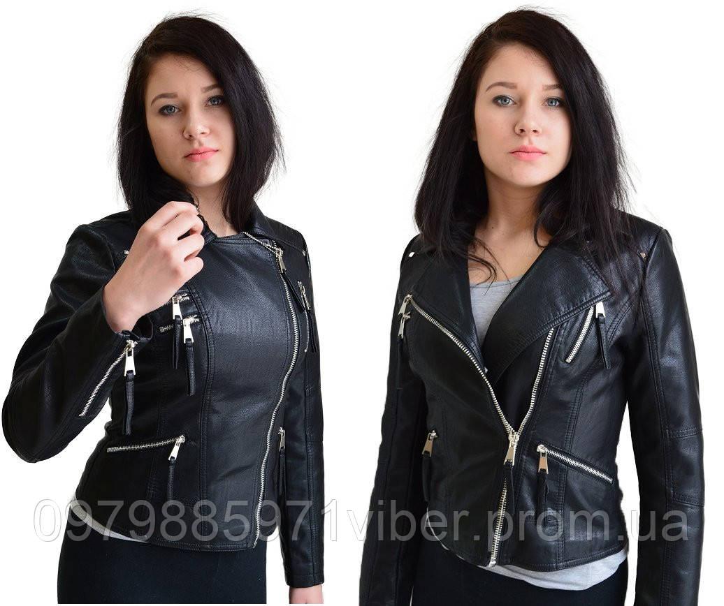 8e82ed592f45 Женская демисезонная куртка косуха из эко-кожи,кожаная куртка на косой  замок - Доставка