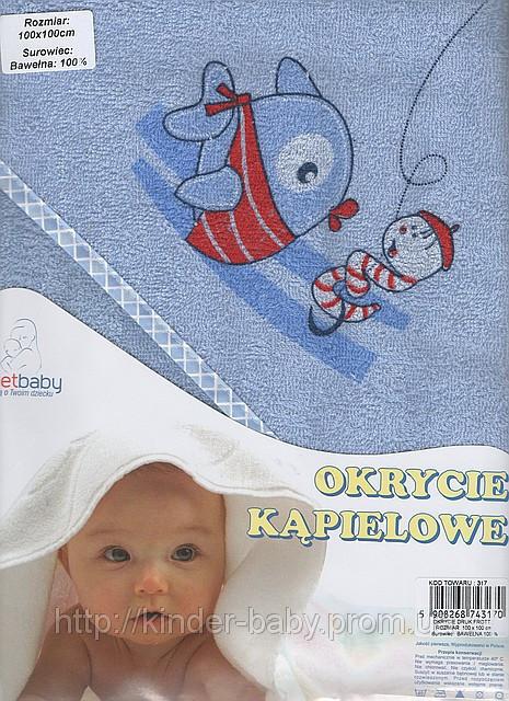 Полотенце с капюшоном  для купания детей с термопечатью (80х80 см) Duetbaby ( Польша) Розовый Животные принты