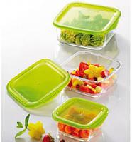 Набор емкостей для еды квадратный 3 шт Luminarc Keep'n'Box J4708