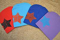 Детская яркая весенняя шапка со звездой р.1-3года