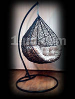 Распродажа,Подвесное кресло-качель Nest .Черное со стойкой.