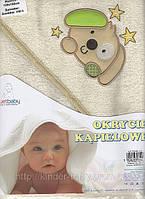 Полотенце с капюшоном   для купания детей с вышивкой (80х80 см) Duetbaby ( Польша) Голубой Животные