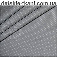 Ткань бязь с мини-горошком 2 мм на сером фоне (№ 580)