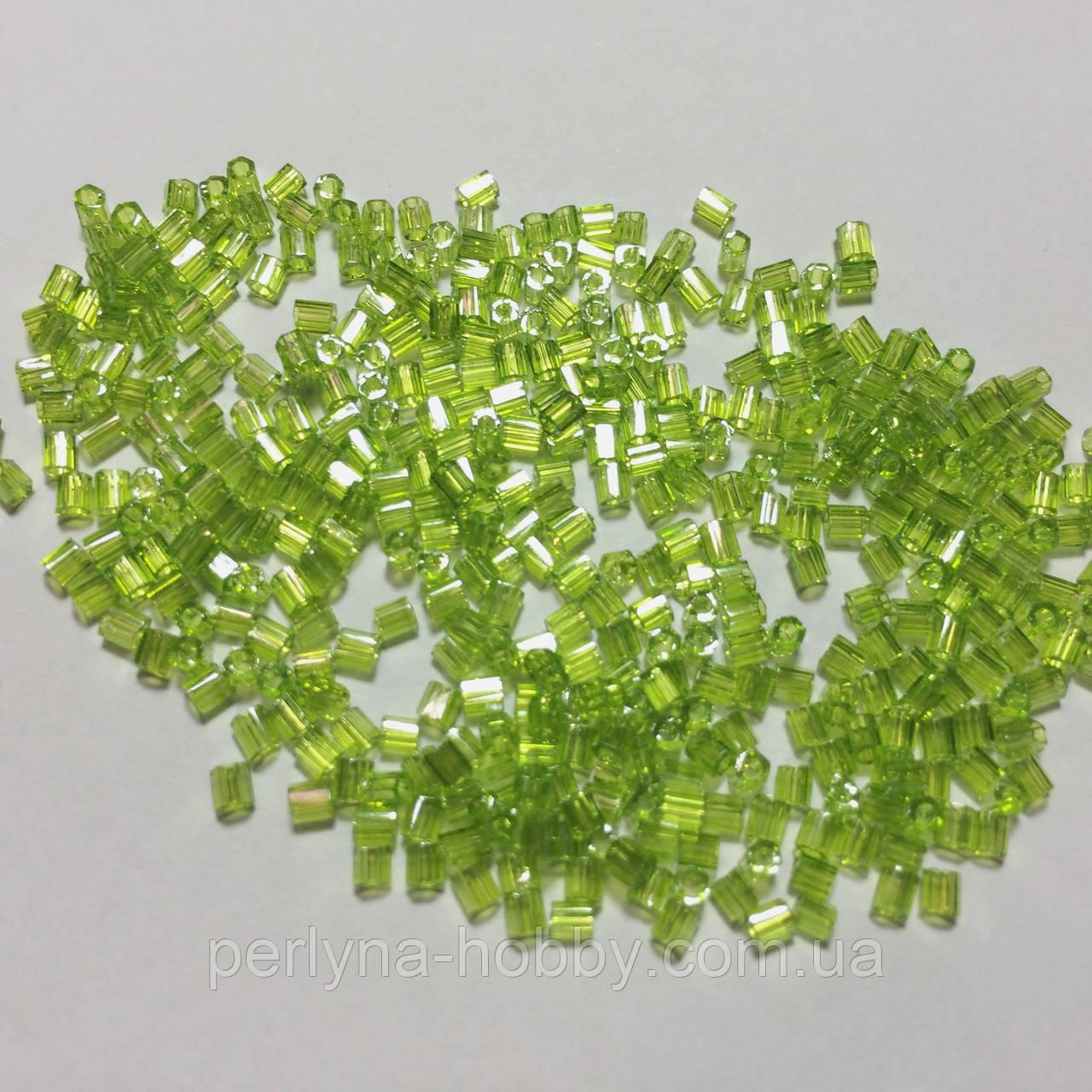 Бісер (бисер) MATSUNO Японія  рубка, 11/ 2 CUT 100 грам, № 505, салатовий прозорий