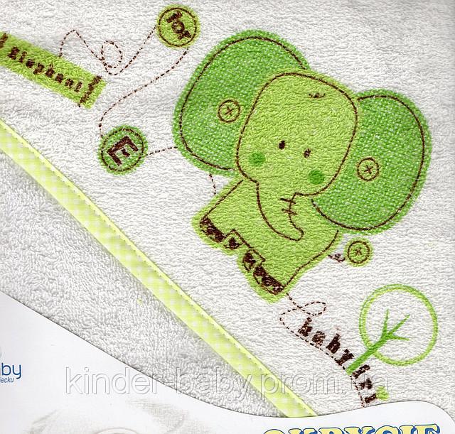 Полотенце с капюшоном  для купания детей с термопечатью (80х80 см) Duetbaby ( Польша) Зеленый Насекомые, бабочки