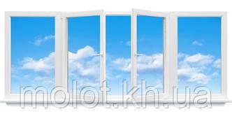 """Металлопластиковая балконная рама в 9-ти, 12-ти этажный дом, прямой балкон """"Полька"""""""