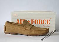 Мужские мокасины Air Force Italia натуральная замша 42