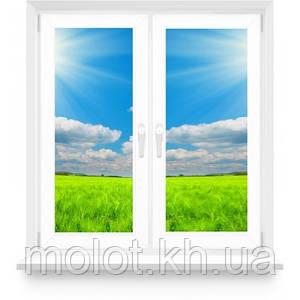 """Металопластикове вікно в кімнату, кухню з двома стулками, в 9-ти, 12-ти поверховий будинок, """"Полька"""""""