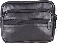 Кожаная мужская сумка на пояс Swan 303917, черная
