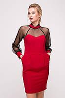 Комбинированное платье с сеткой LEDI красное