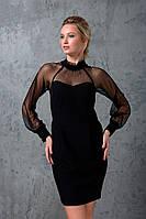 Комбинированное платье с сеткой LEDI черное