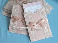 Свадебные приглашения в конверте с кружевом, цвет пудровый и айвори