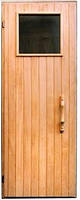 Дверь деревянная для бани со стеклом 400 х 400