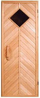 """Двери деревянные """"Елочка"""" со стеклом 280 х 280"""