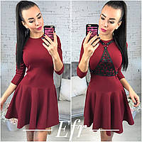 Красивое бордовое  платье, рукав три четверти. Арт-9724/70