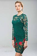 Платье из гипюра с вышивкой ROSE зеленое