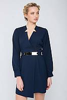 Платье с запАхом и пояском CHERRI темно-синее