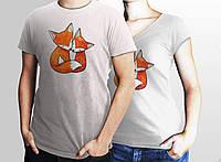 """Парні футболочки ручного розпису """"Щасливі лисички"""""""