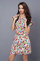 Шифоновое платье-рубашка на подкладке р. 46-48,48-50,50-52 цветы на белом.