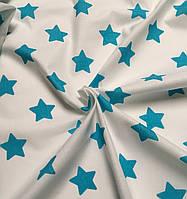 Бязь с большими звёздами 4 см тёмно-бирюзового цвета, плотность 125 г/кв.м. (№ 581а)