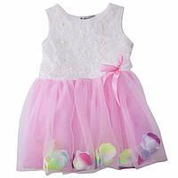 Платье детское с лепестками розовое