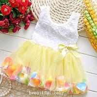 Платье детское с лепестками желтое
