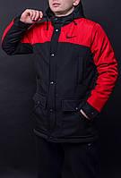Парка демисезонная, куртка мужская, весенняя, осенняя Nike, до - 5 градусов, красный+черный