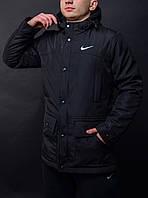 Парка демисезонная, куртка мужская, весенняя, осенняя Nike, до - 5 градусов, черный