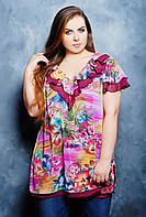 Блуза с воланом КАРИНА бордо