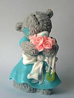 Мыло Тедди в платье с букетом роз