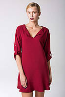Платье с воланом по низу LUX бордо