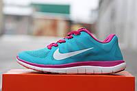 Кроссовки женские Nike Free Run 4 0 голубые с розовым