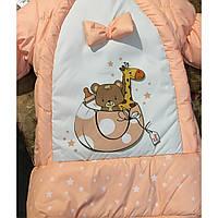 Конверт-куртка зимняя для новорожденных детей на овчинке, теплый, новинка