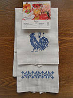 Набор кухонных полотенец с петухом и орнаментом в синем цвете