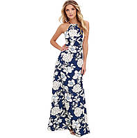 Длинное синее платье / сарафан макси с белыми цветами