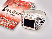 Мужское серебряное кольцо печатка , фото 1