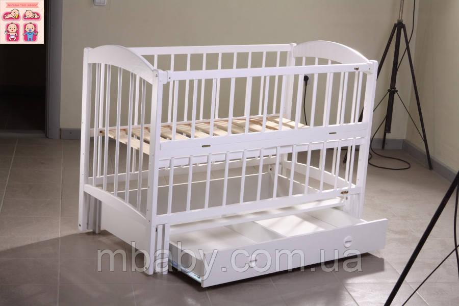 Детская кроватка Лилия (цвет белый), шарнир-подшипник-ящик с откидной боковиной, фиксатор боковинки