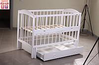 Детская кроватка Лилия (цвет белый), шарнир-подшипник-ящик с откидной боковиной, фиксатор боковинки, фото 1