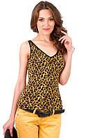 Майка женская  трикотажная летняя леопардовая вискоза Украина